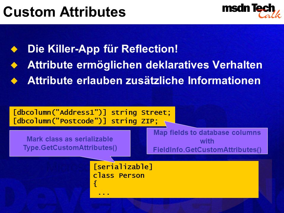 Custom Attributes Die Killer-App für Reflection!
