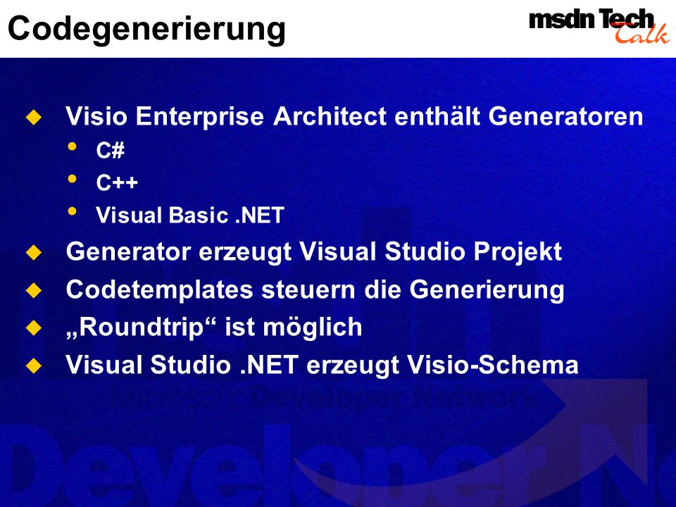 Codegenerierung Visio Enterprise Architect enthält Generatoren