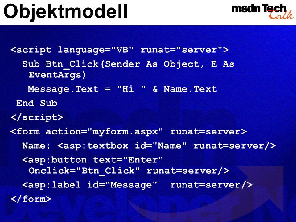 Objektmodell <script language= VB runat= server >
