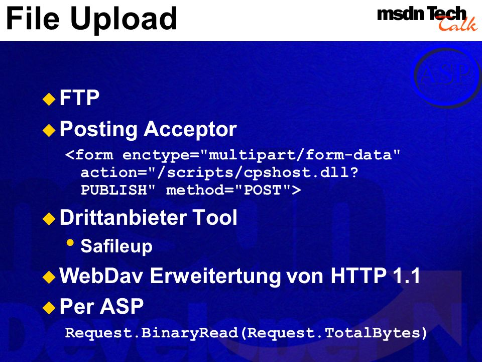 File Upload FTP Posting Acceptor Drittanbieter Tool