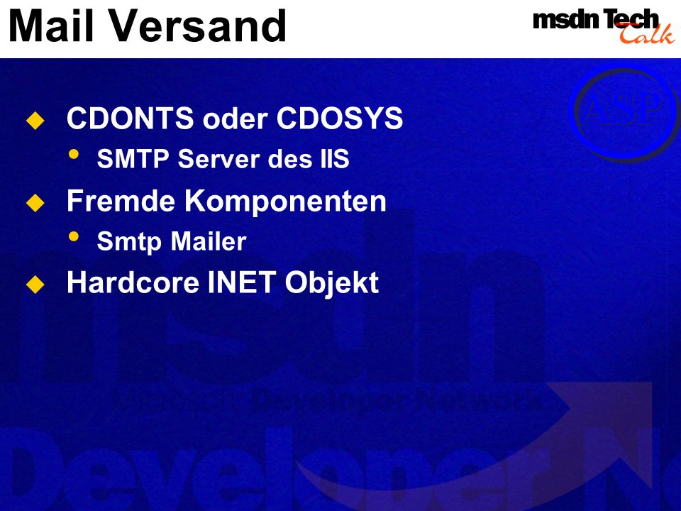 Mail Versand CDONTS oder CDOSYS Fremde Komponenten