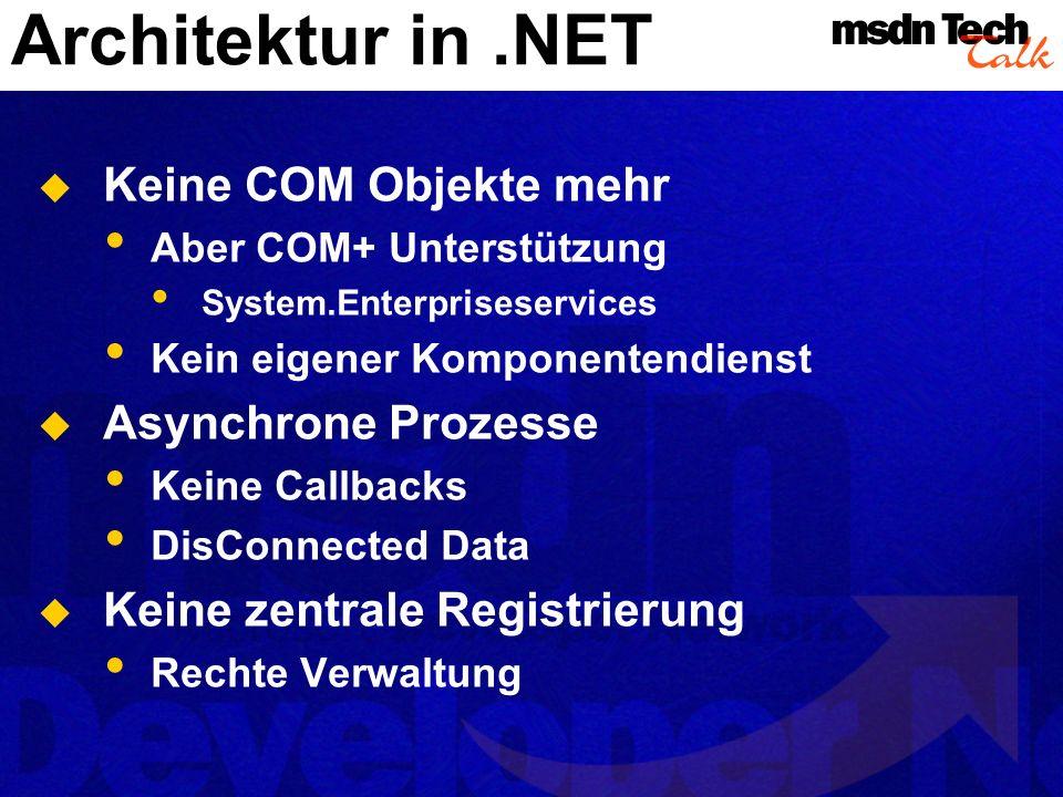 Architektur in .NET Keine COM Objekte mehr Asynchrone Prozesse