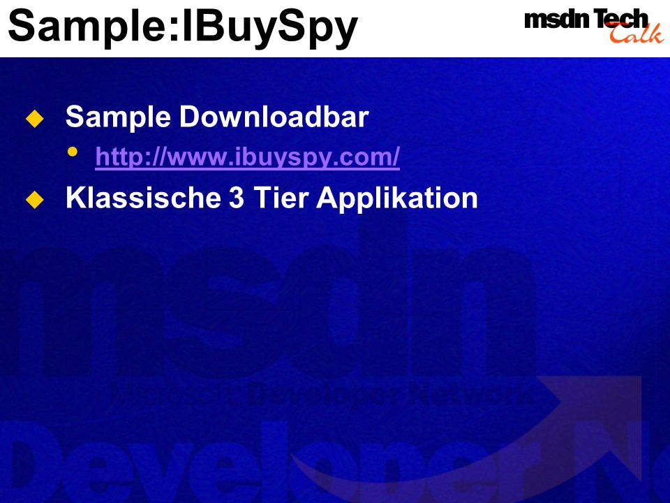 Sample:IBuySpy Sample Downloadbar Klassische 3 Tier Applikation