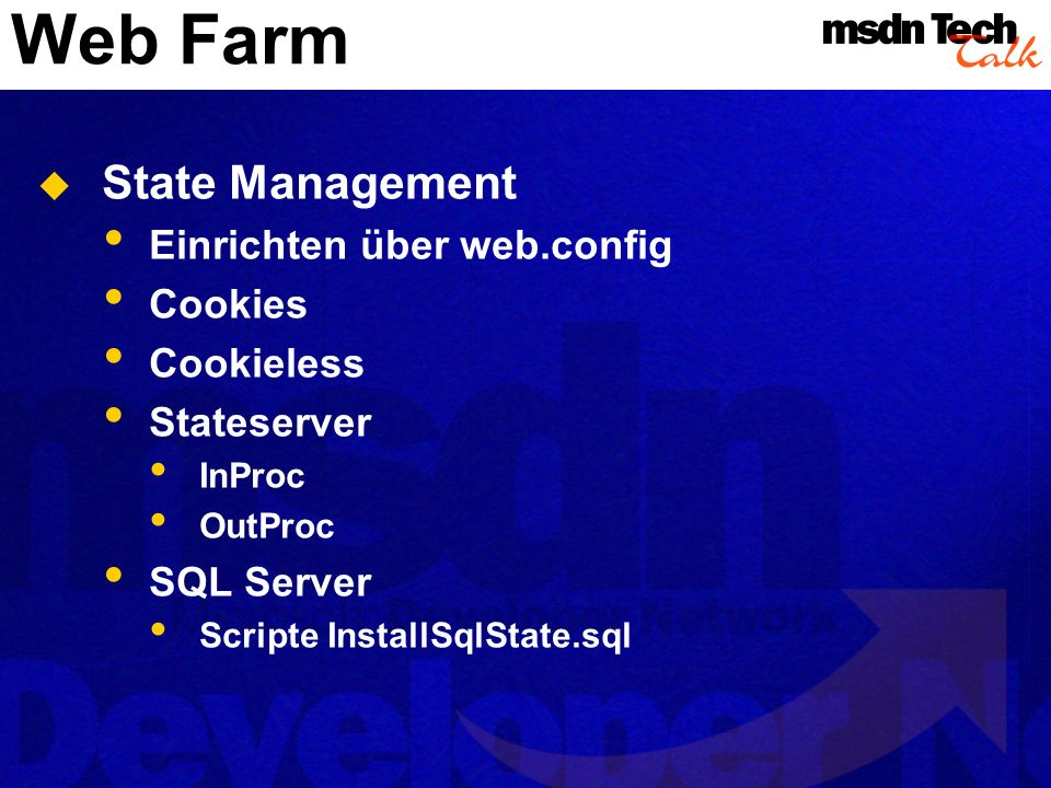 Web Farm State Management Einrichten über web.config Cookies