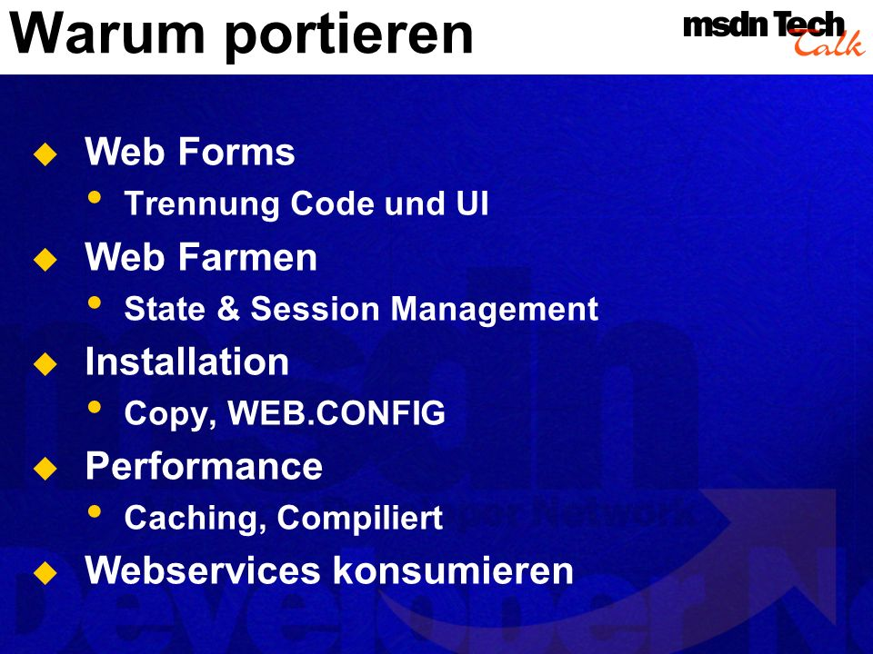 Warum portieren Web Forms Web Farmen Installation Performance