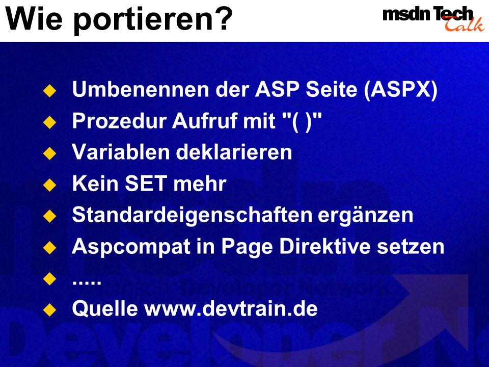 Wie portieren Umbenennen der ASP Seite (ASPX)