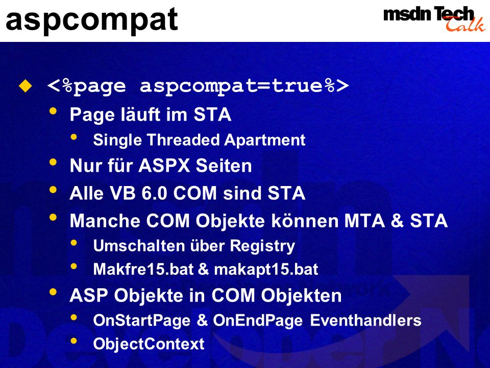 aspcompat <%page aspcompat=true%> Page läuft im STA