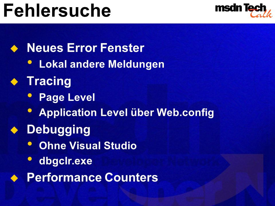 Fehlersuche Neues Error Fenster Tracing Debugging Performance Counters