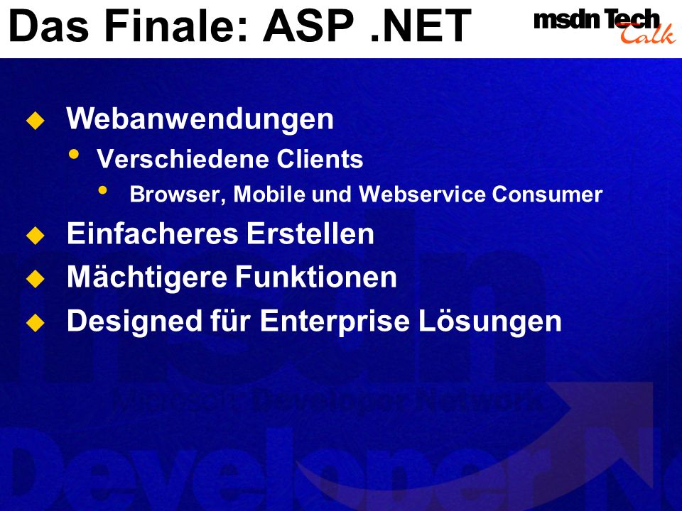 Das Finale: ASP .NET Webanwendungen Einfacheres Erstellen
