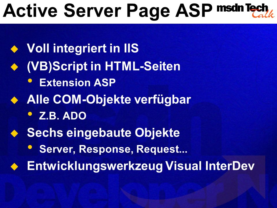 Active Server Page ASP Voll integriert in IIS