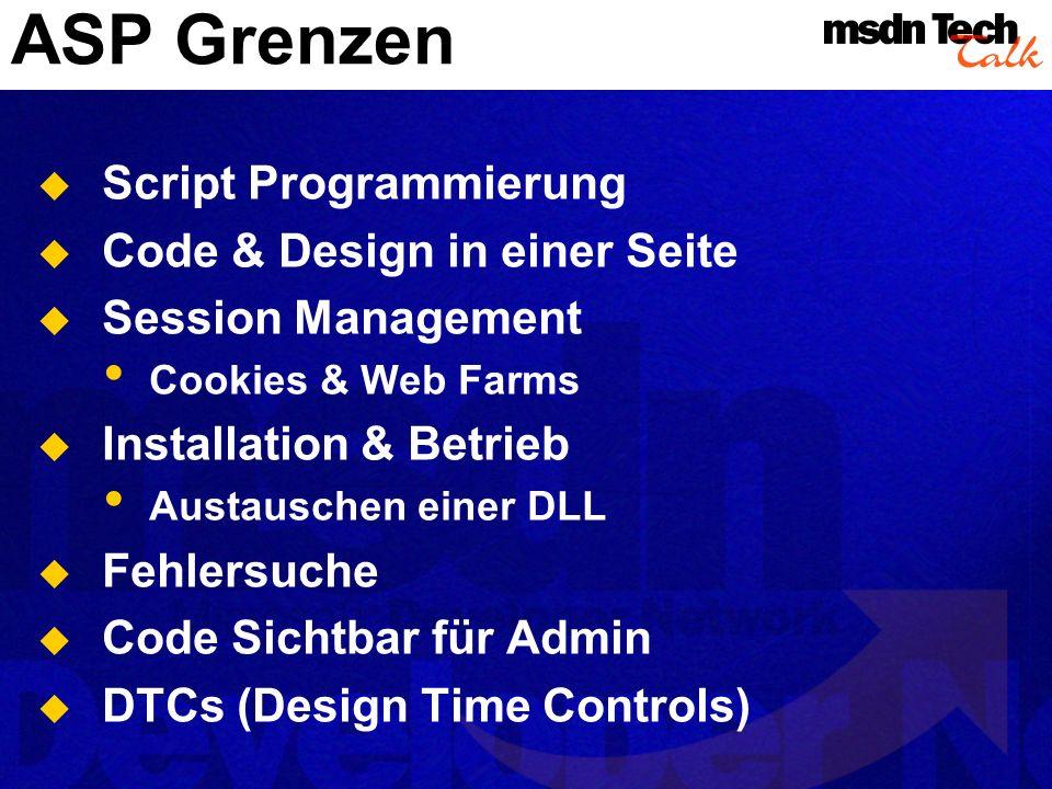 ASP Grenzen Script Programmierung Code & Design in einer Seite