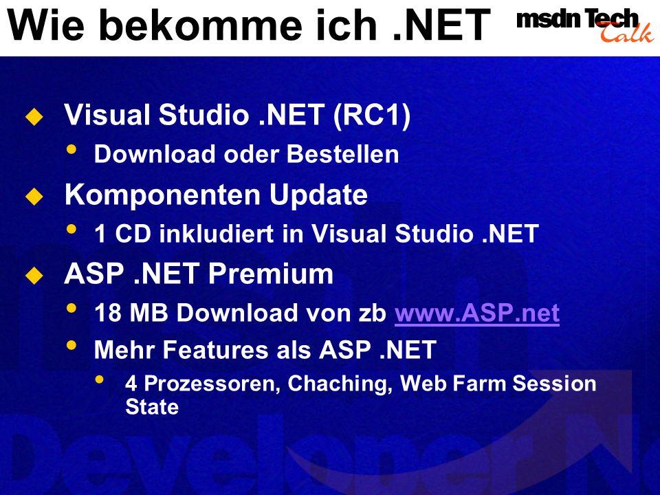 Wie bekomme ich .NET Visual Studio .NET (RC1) Komponenten Update