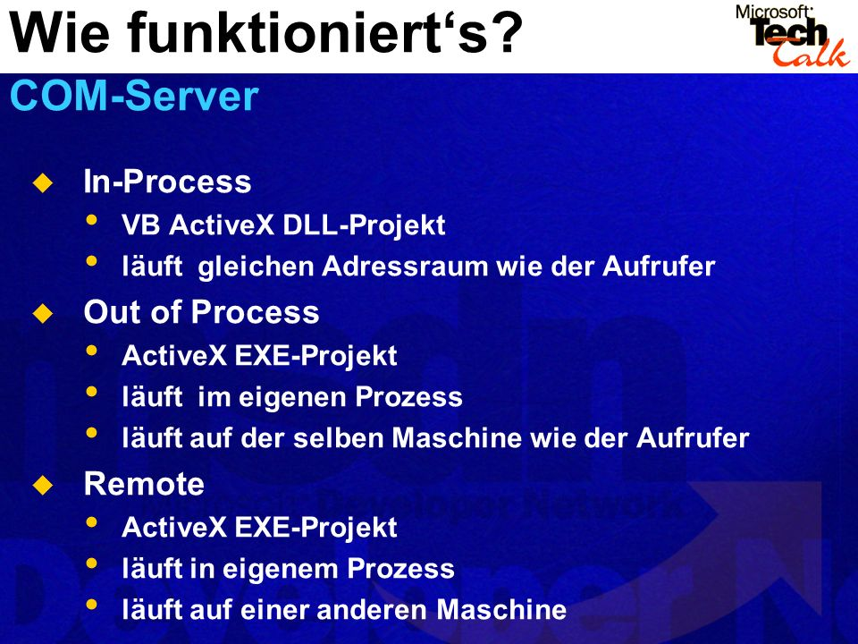 Wie funktioniert's COM-Server