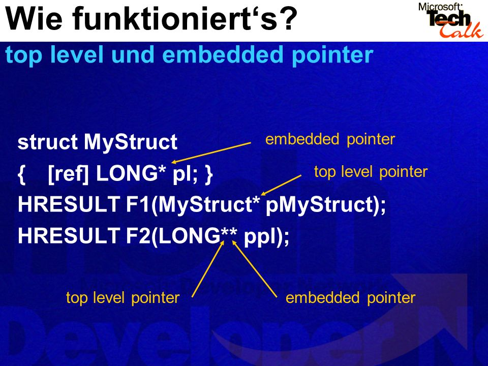 Wie funktioniert's top level und embedded pointer