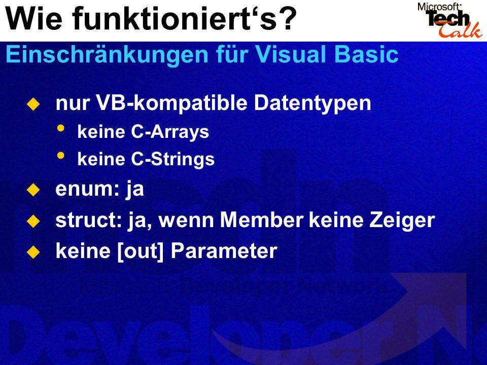 Wie funktioniert's Einschränkungen für Visual Basic