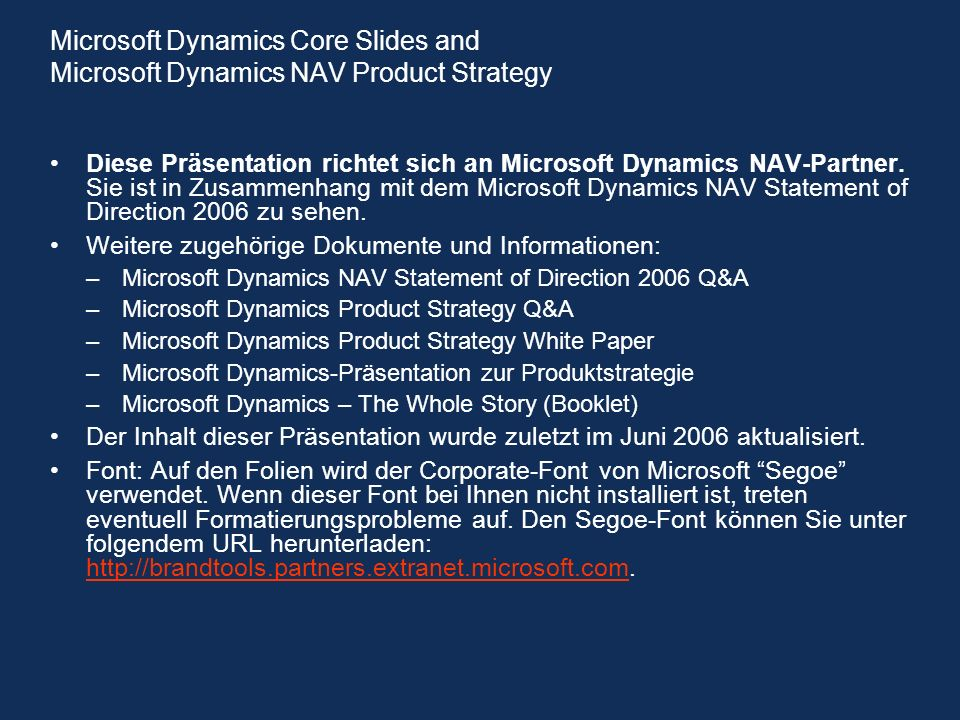 Microsoft Dynamics Core Slides and Microsoft Dynamics NAV Product Strategy