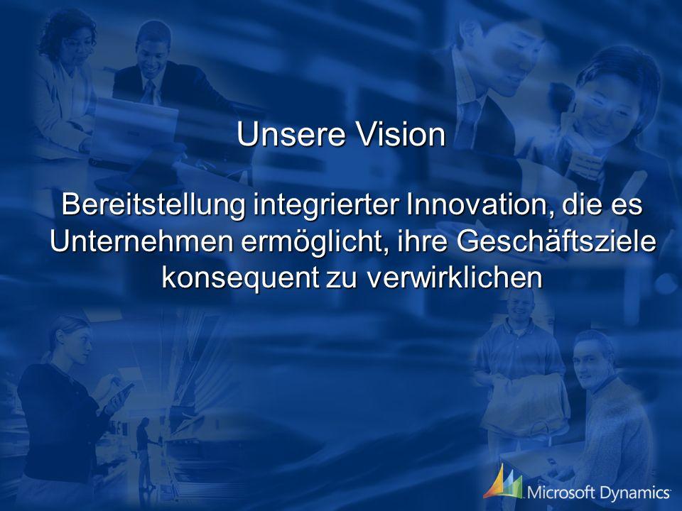 Unsere Vision Bereitstellung integrierter Innovation, die es Unternehmen ermöglicht, ihre Geschäftsziele konsequent zu verwirklichen.