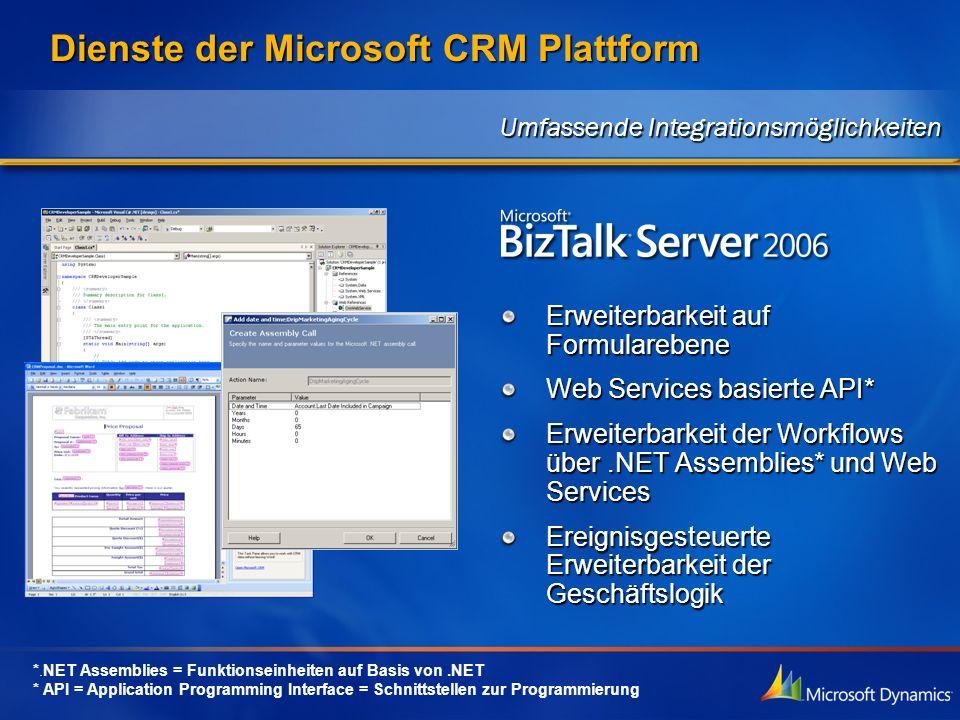 Dienste der Microsoft CRM Plattform