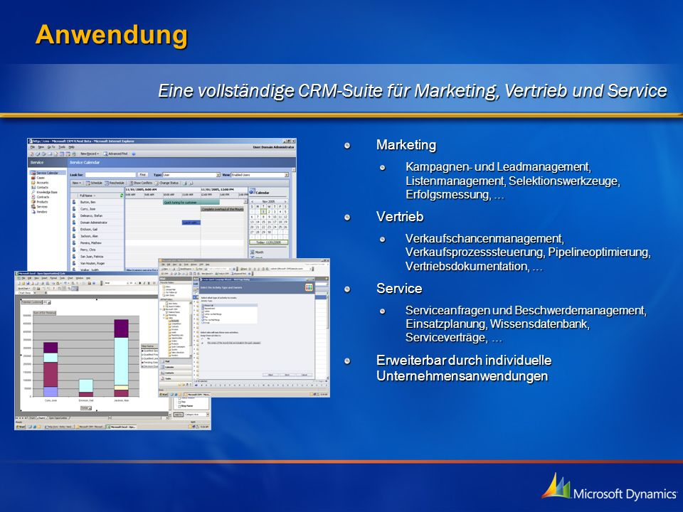 3/27/2017 3:09 PM Anwendung. Eine vollständige CRM-Suite für Marketing, Vertrieb und Service. Marketing.