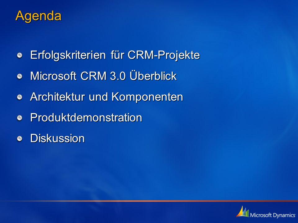 Agenda Erfolgskriterien für CRM-Projekte Microsoft CRM 3.0 Überblick