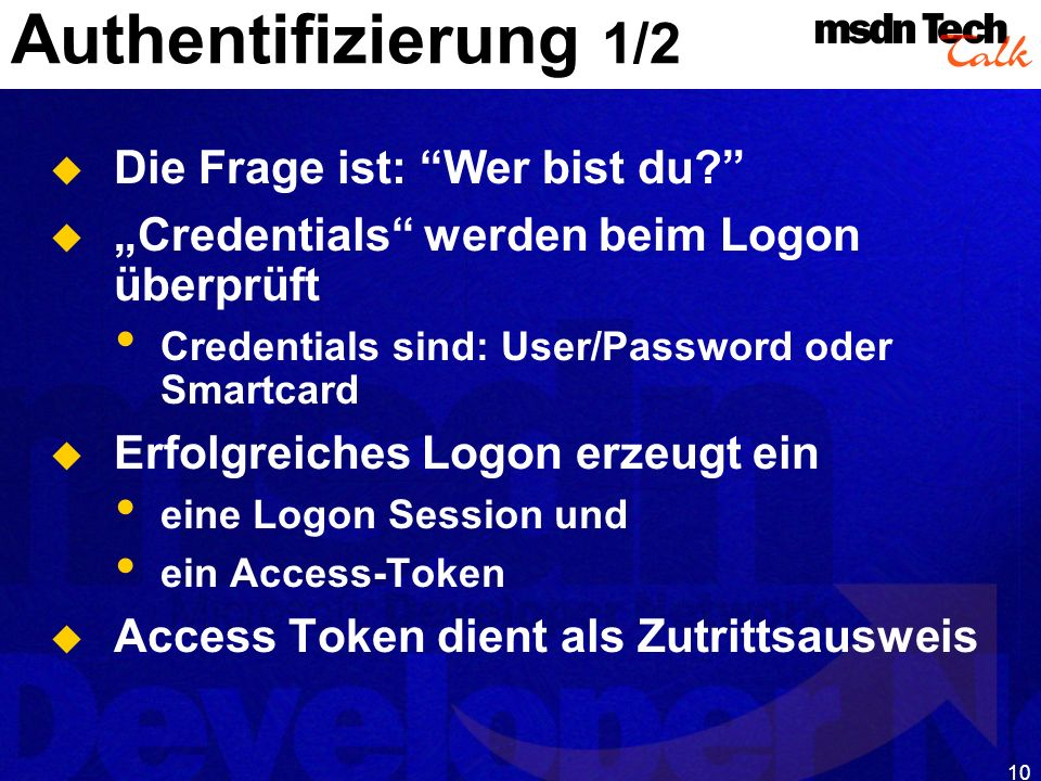 MSDN TechTalk – Januar 2001 COM(+) Security 10