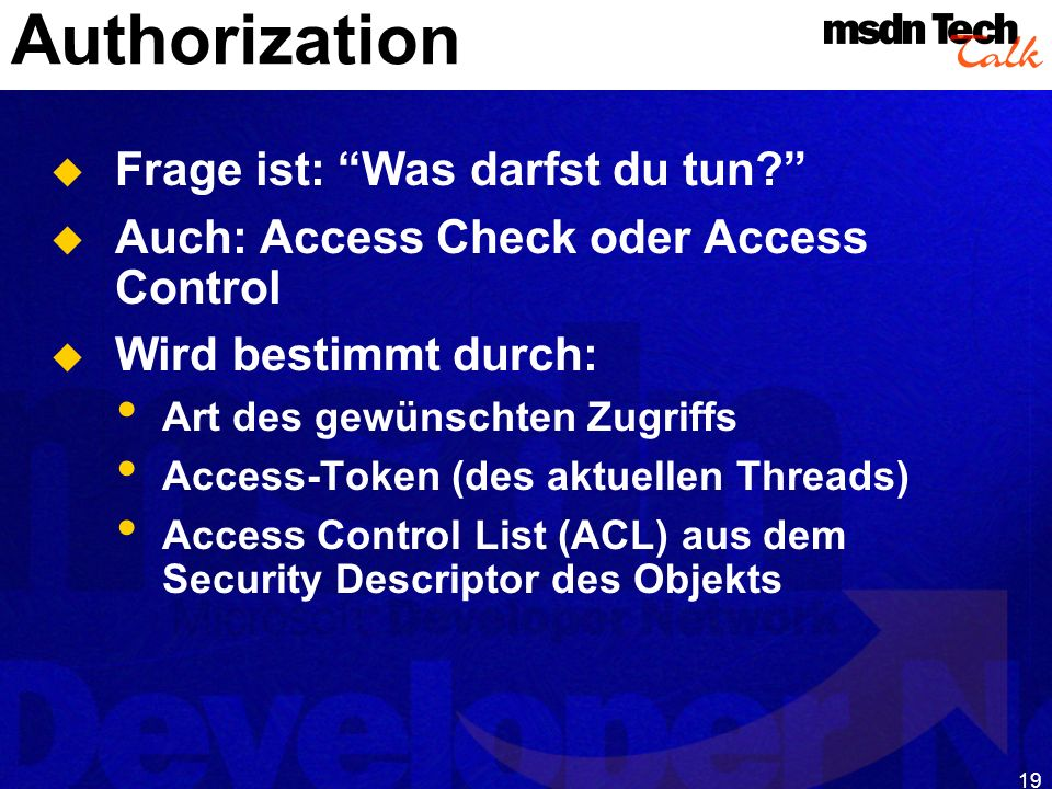 MSDN TechTalk – Januar 2001 COM(+) Security 19