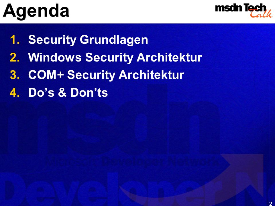 Agenda Security Grundlagen Windows Security Architektur