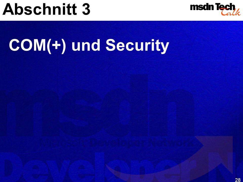 Abschnitt 3 COM(+) und Security
