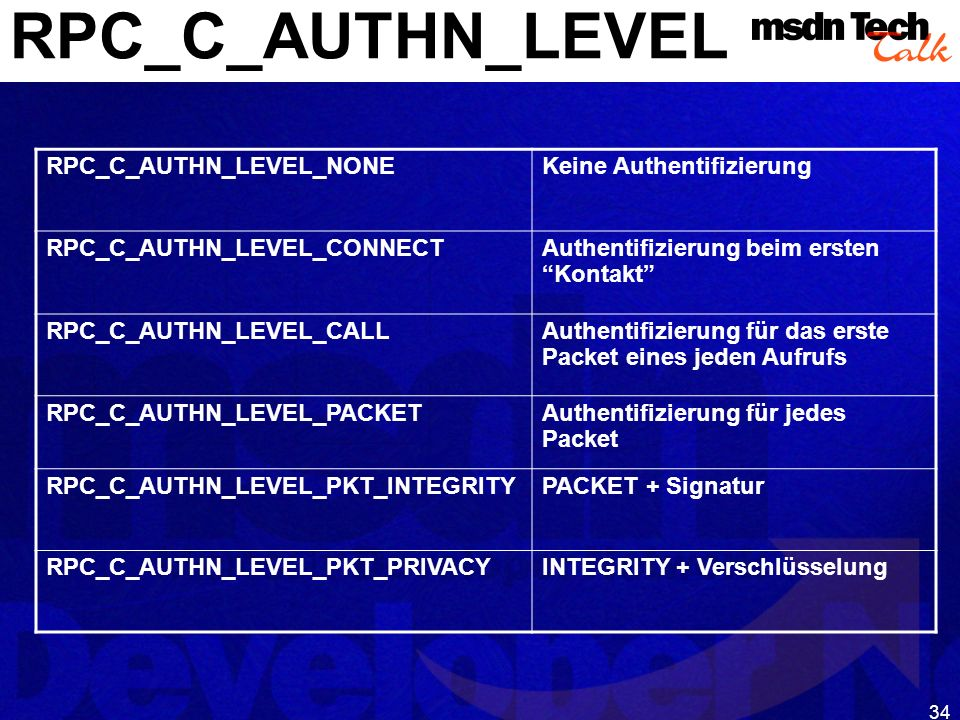 RPC_C_AUTHN_LEVEL RPC_C_AUTHN_LEVEL_NONE Keine Authentifizierung
