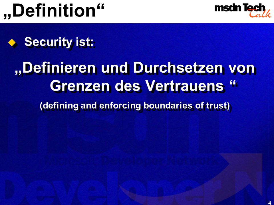 MSDN TechTalk – Januar 2001 COM(+) Security 4