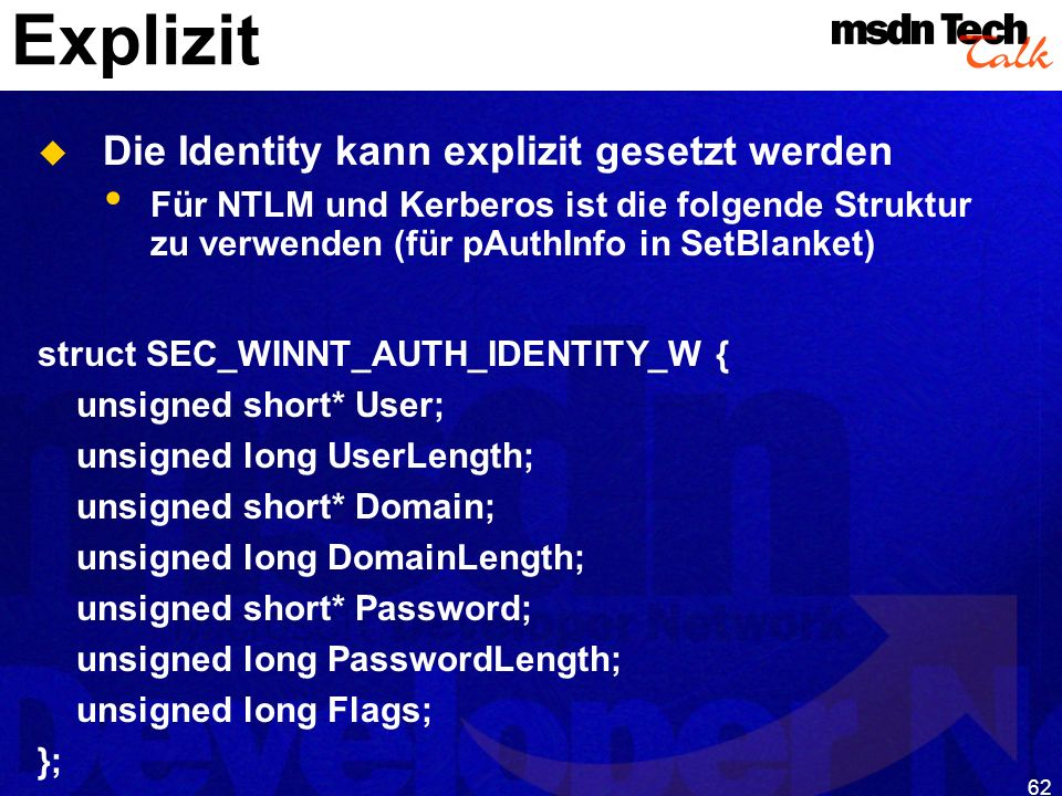 MSDN TechTalk – Januar 2001 COM(+) Security 62