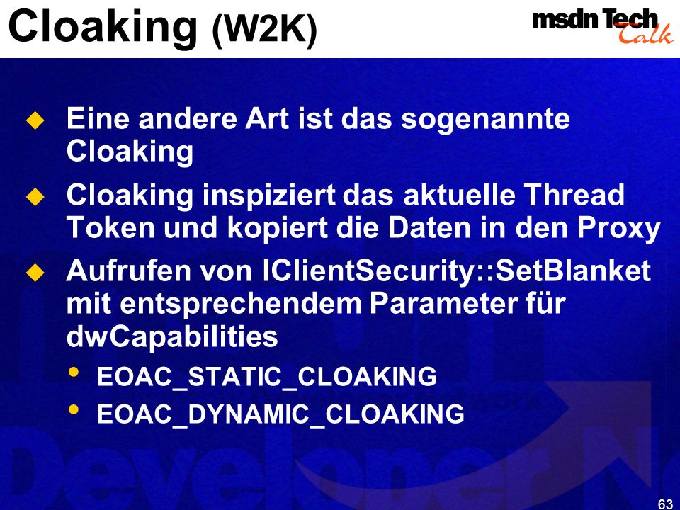 MSDN TechTalk – Januar 2001 COM(+) Security 63