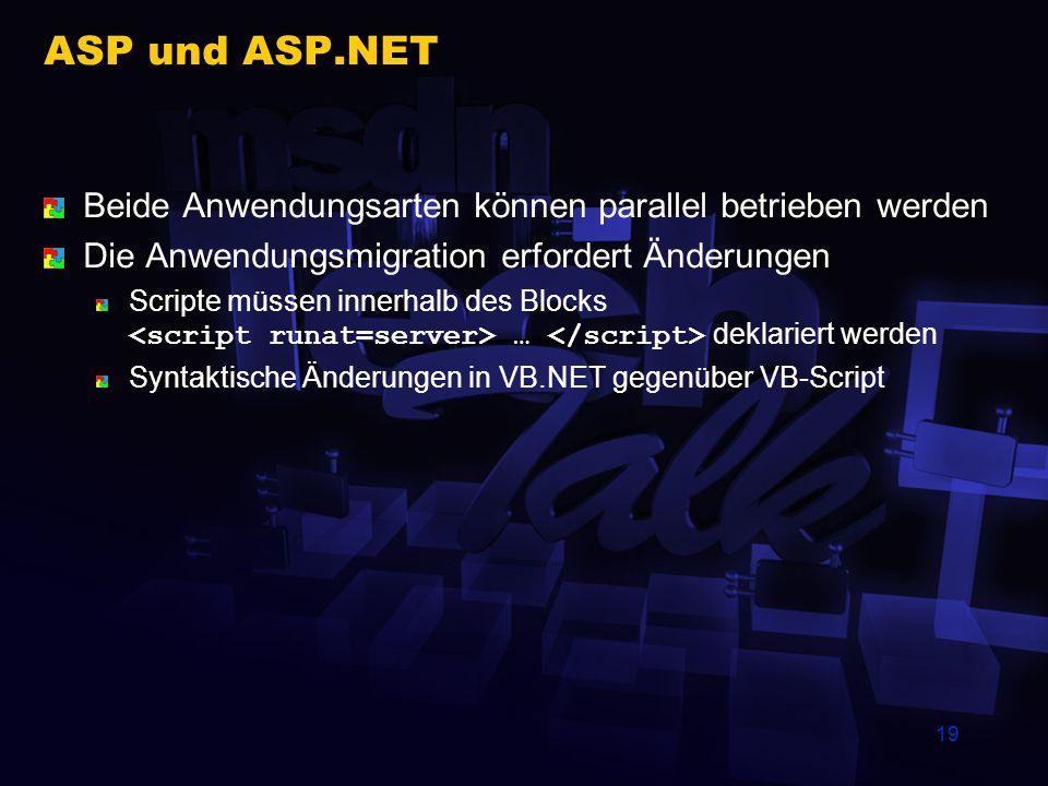 ASP und ASP.NET Beide Anwendungsarten können parallel betrieben werden