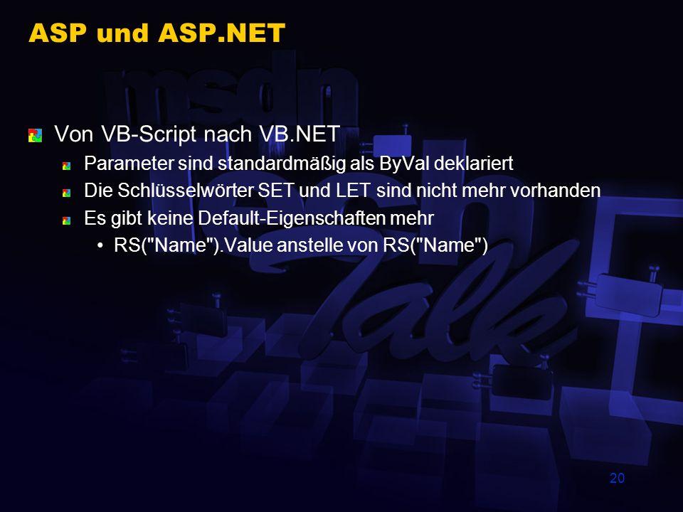 ASP und ASP.NET Von VB-Script nach VB.NET