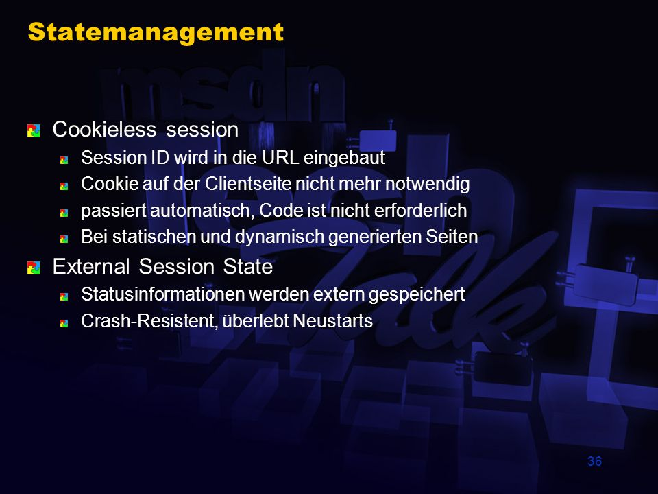 Statemanagement Cookieless session External Session State