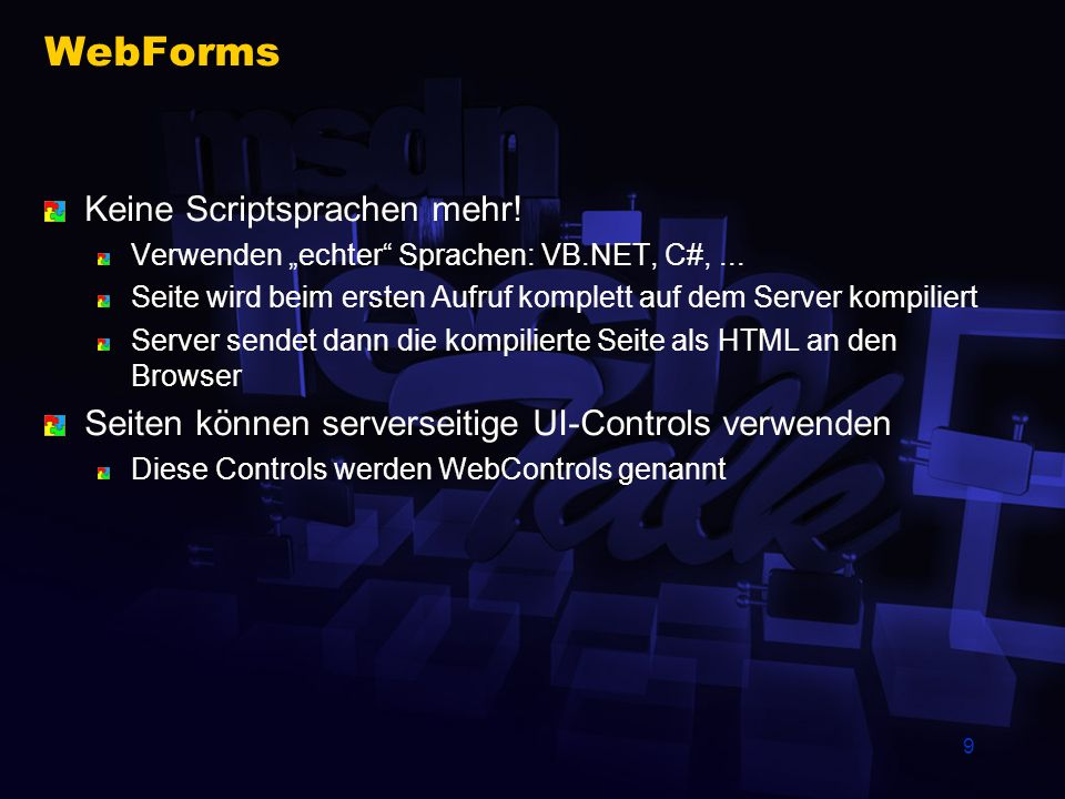 WebForms Keine Scriptsprachen mehr!
