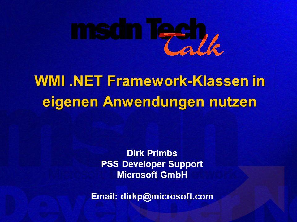 WMI .NET Framework-Klassen in eigenen Anwendungen nutzen