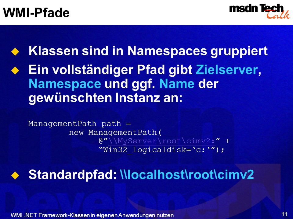Klassen sind in Namespaces gruppiert