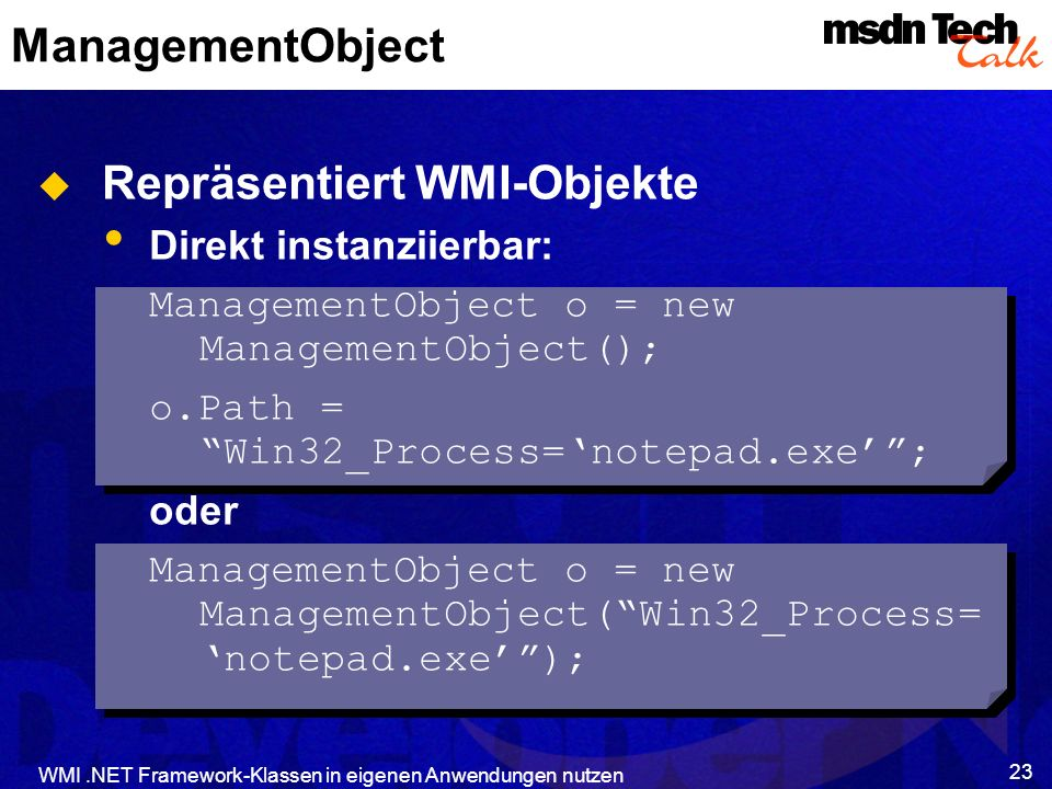 Repräsentiert WMI-Objekte