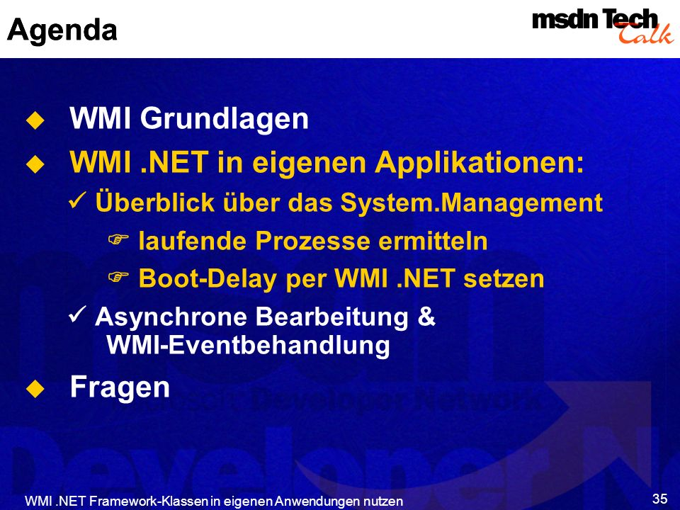 WMI .NET in eigenen Applikationen: