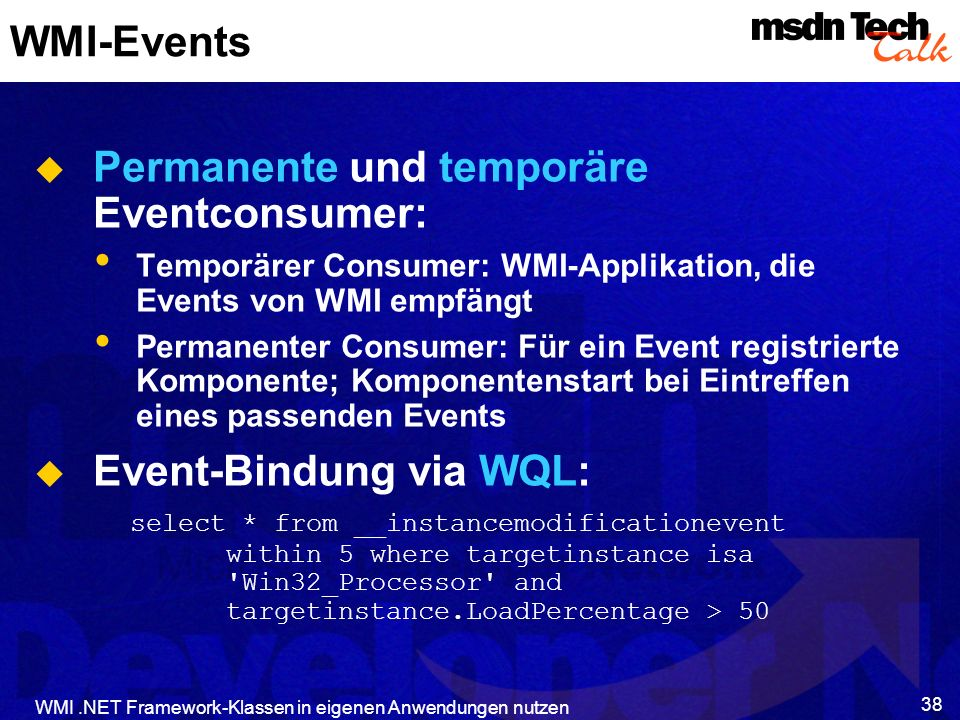 Permanente und temporäre Eventconsumer: