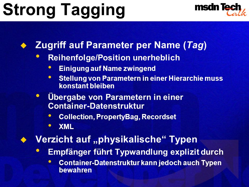 Strong Tagging Zugriff auf Parameter per Name (Tag)