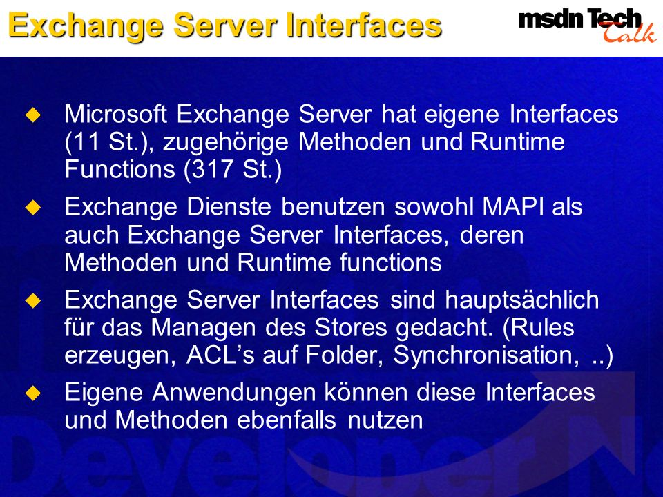 Exchange Server Interfaces