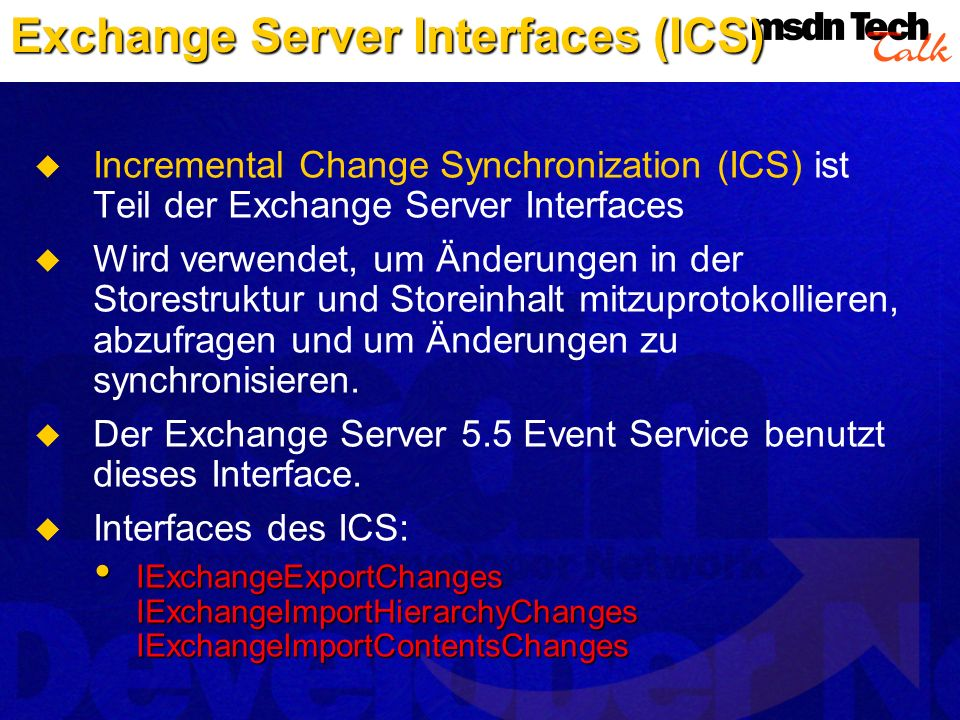 Exchange Server Interfaces (ICS)