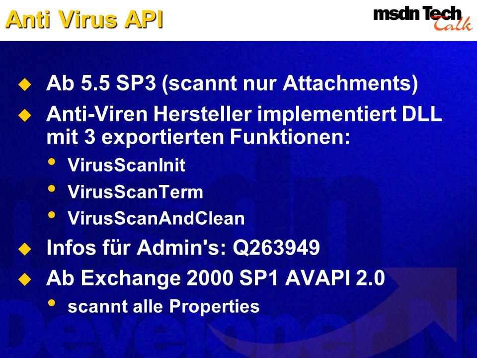 Anti Virus API Ab 5.5 SP3 (scannt nur Attachments)