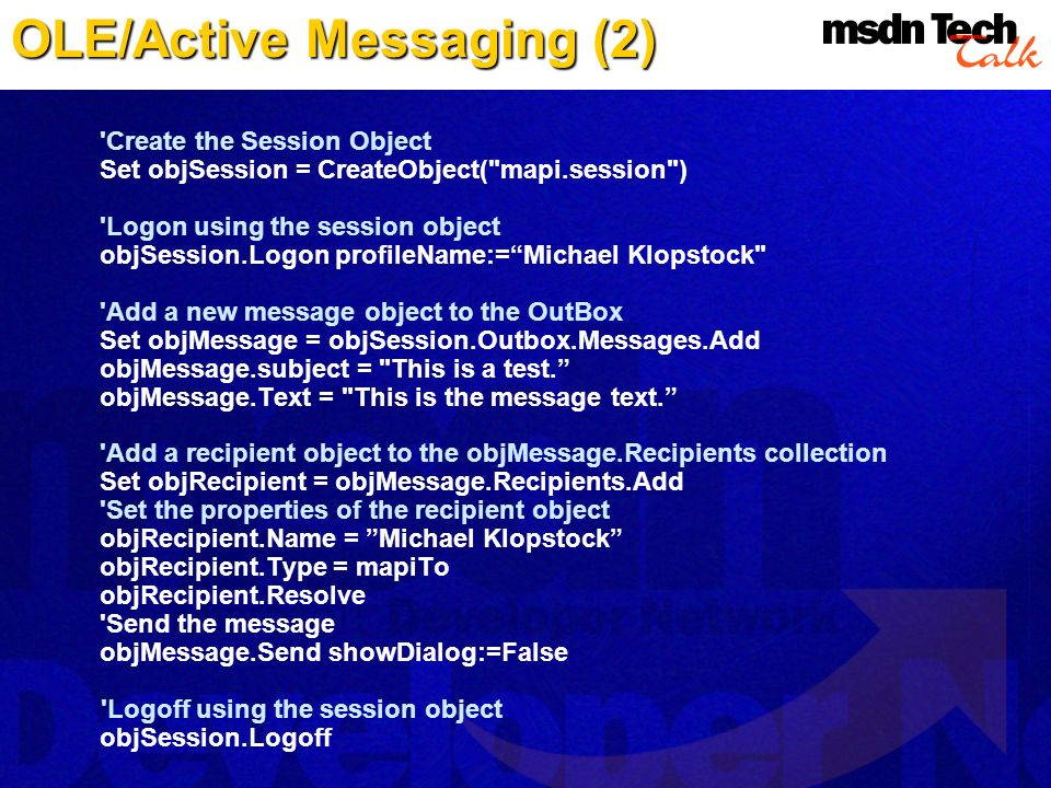 OLE/Active Messaging (2)