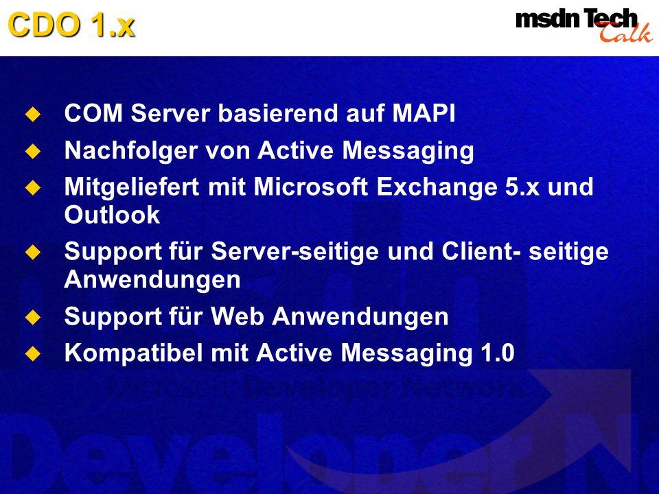 CDO 1.x COM Server basierend auf MAPI Nachfolger von Active Messaging