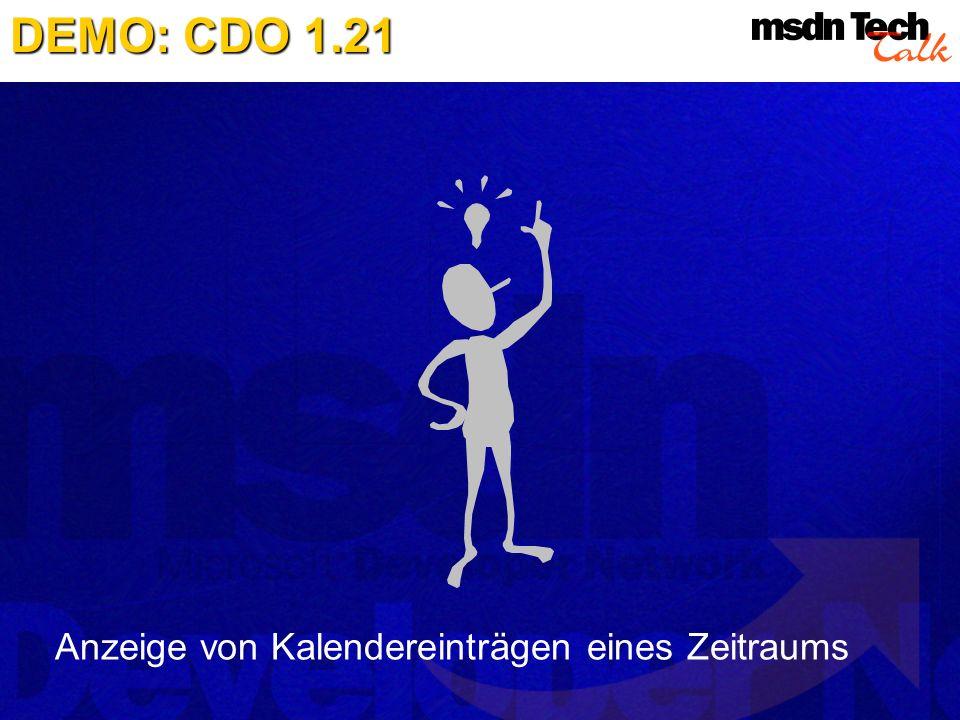 DEMO: CDO 1.21 Anzeige von Kalendereinträgen eines Zeitraums