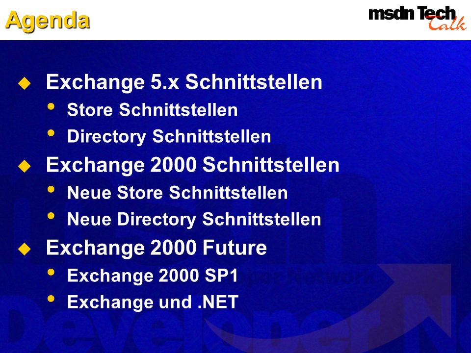 Agenda Exchange 5.x Schnittstellen Exchange 2000 Schnittstellen
