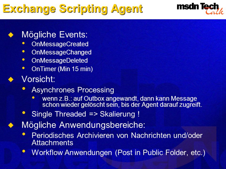 Exchange Scripting Agent
